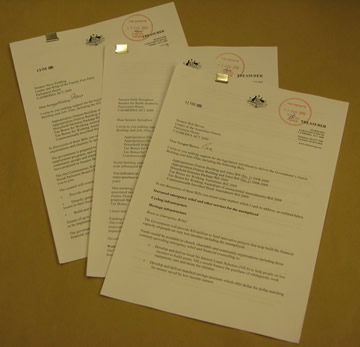 Examples of ministerial undertakings given to senators in exchange for their support for particular legislation. Negotiations such as these have effectively replaced the need for conferences between the Houses