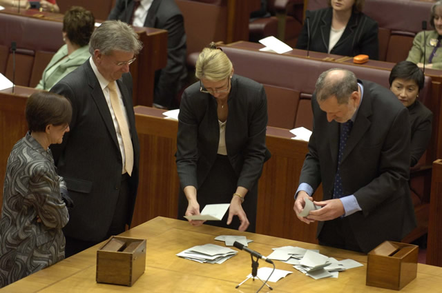 Secret ballots are conducted for such matters as committee membership. While the clerks count the votes, whips usually act a scrutineers (Photo courtesy of AUSPIC)