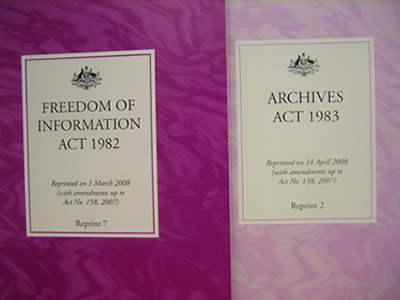 The FOI and Archives Acts influenced the terminology used in the standing orders