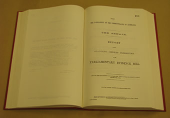 The Parliamentary Evidence Bill 1904 was a private senator's bill introduced by Senator Neild (FT, NSW). It did not proceed although the extent to which it was misconceived was not recognised at the time