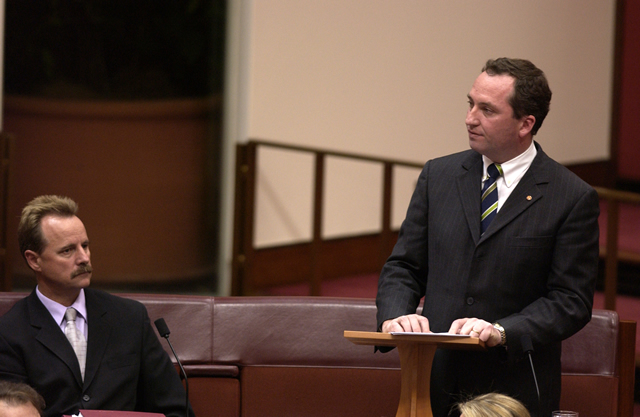 Senator Barnaby Joyce (Nats, Qld) gives his first speech using a lectern (Photo courtesy of AUSPIC)