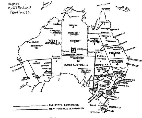 Figure 3. Provinces and territories of a unitary Australia
