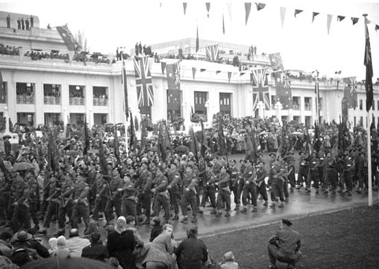 Jubilee celebrations of federation in June 1951, showing the Union Jack taking