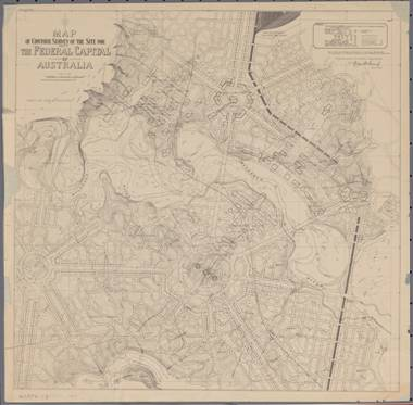Figure 1: 1913 plan of the Griffins' scheme with Capital Hill within the circular road in the centre of image, nla.map-gmod30, National Library of Australia.
