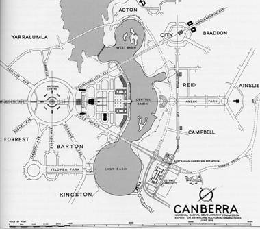 Figure 2: Post Holford plan of Canberra with Parliament House located on the edge of the lake and a 'National Centre' located on Capital Hill