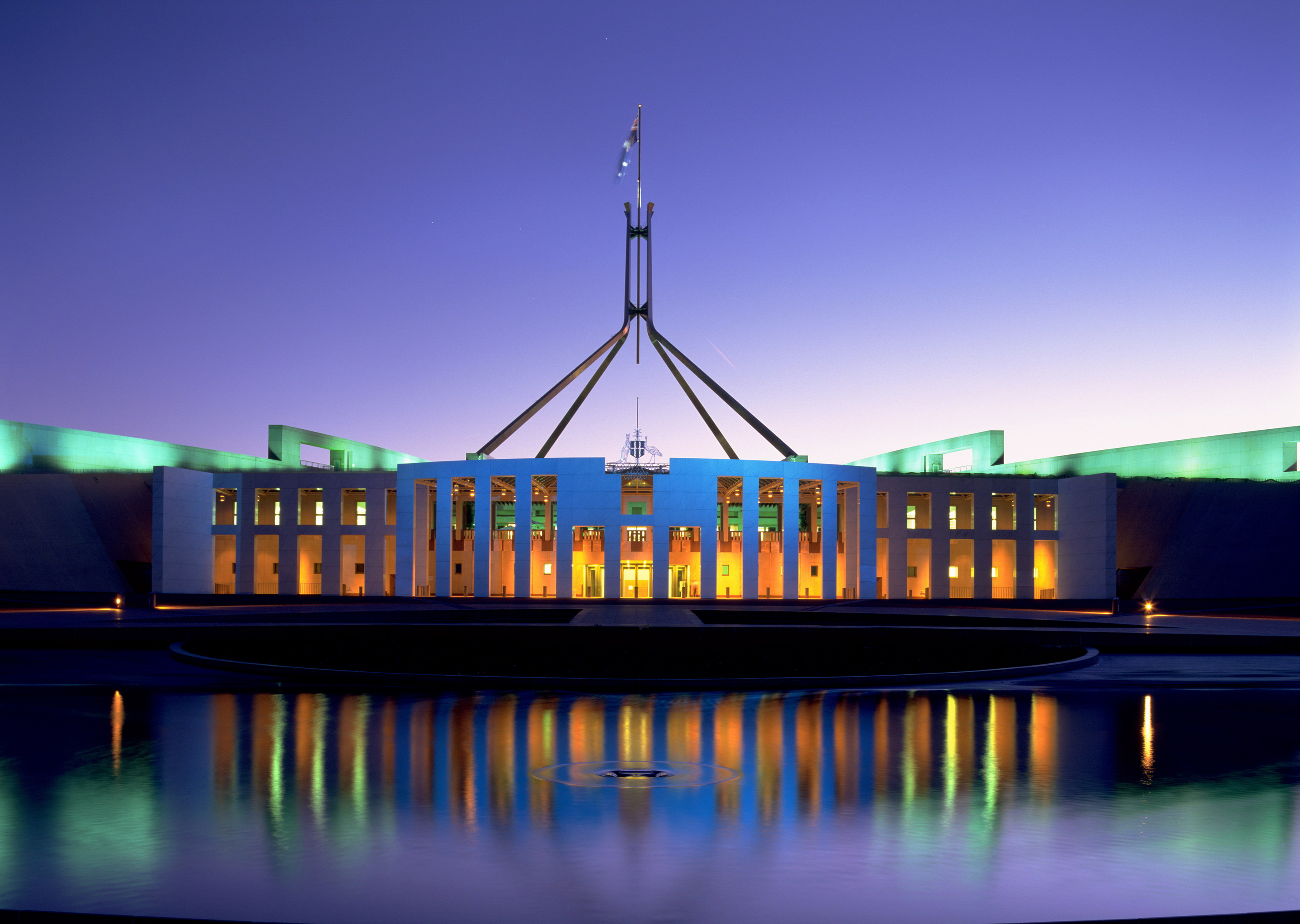 Parliament House at night looking dapper.