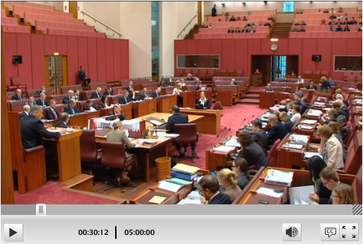Senate Chamber at Question Time