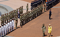 Her Excellency the Governor-General, the Honourable Quentin Bryce AC CVO inspects the Guard and Band on the forecourt of Parliament House.