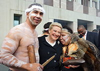 Thumbnail image: Hon Bronwyn Bishop MP with Ngambri elder, Matilda House, and Paul House on the forecourt of Parliament House