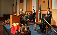 Thumbnail image: Ngambri elder, Matilda House, addresses the gathering at the Welcome to Country ceremony.