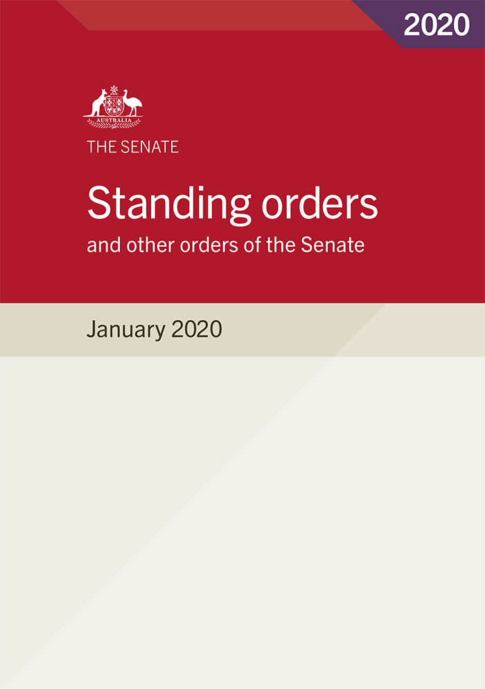 Image of the printed version of the Standing orders and other orders of the Senate