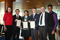 Thumbnail image: The three winners, with member for Canberra Gai Brodtmann (left), Clerk of the House Bernard Wright and 2011 winner Jeeven Nadanakumar