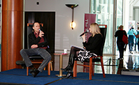 Thumbnail image: Compere Andrea Close chats with Speaker's chair designer David Upfill-Brown