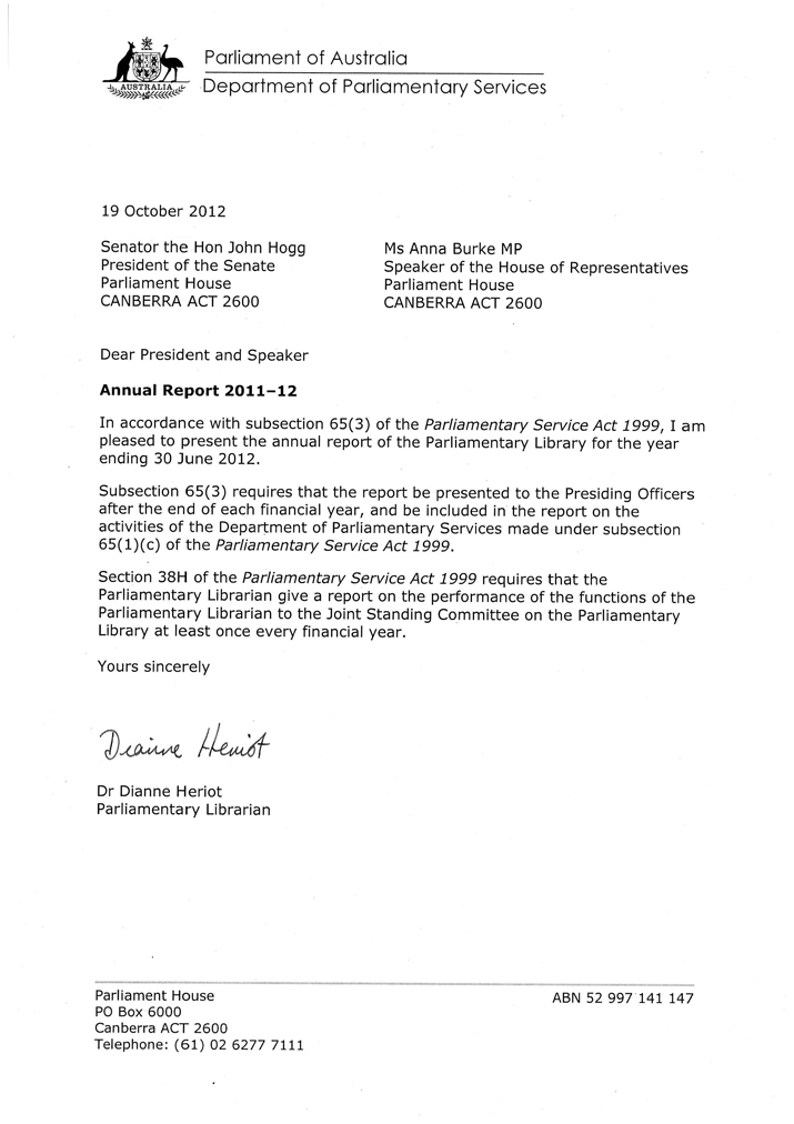 letters of transmittal parliament of australia