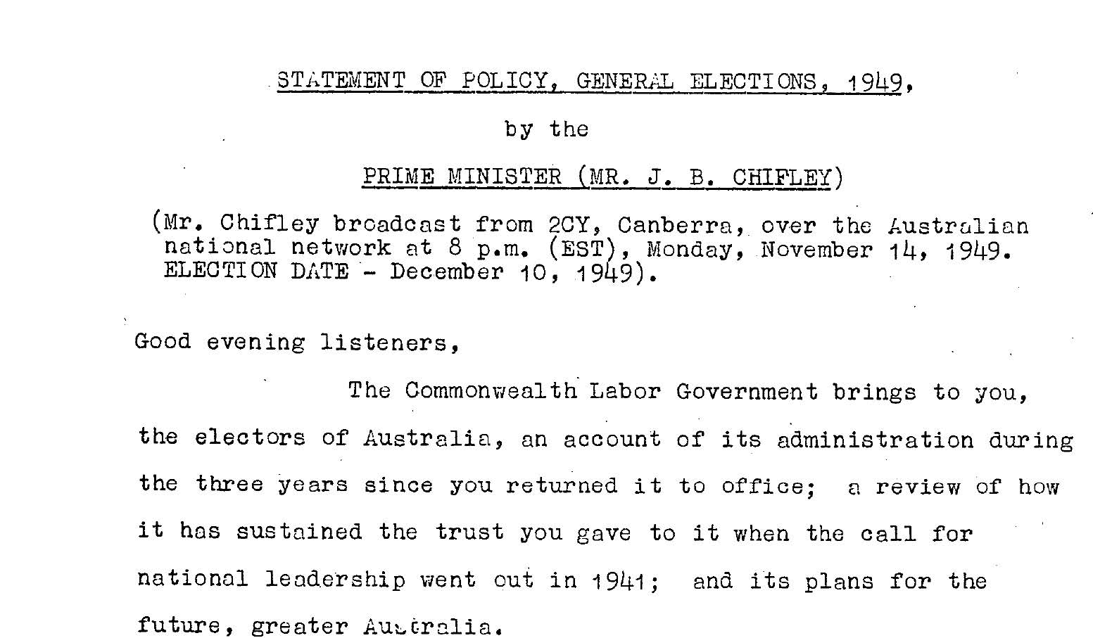 Statement of Policy General Elections, 1948 by the Prime Minister