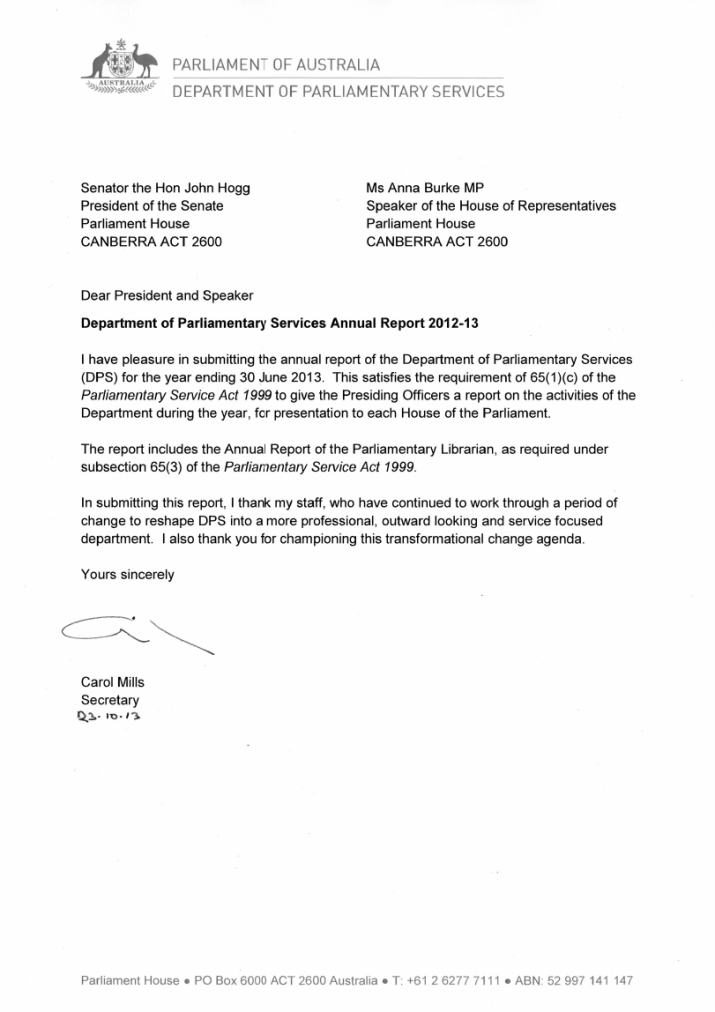 Letters of Transmittal – Parliament of Australia