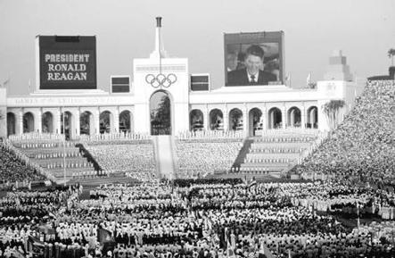 Los Angeles Stadium during the opening of the 1984 Olympics