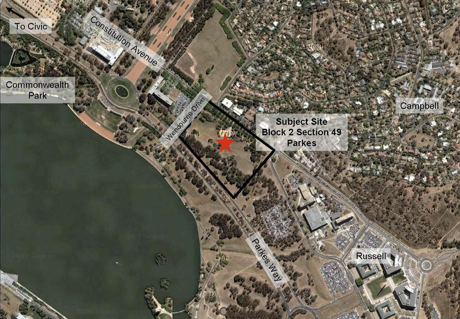 Figure 1: photo showing the location of the new ASIO Central Office building (indicated by the black outline), the Russell Security Precinct, and the nearby suburb of Campbell