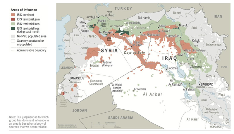 Map areas of influence Iraq and Syria (Source: Global Coalition)