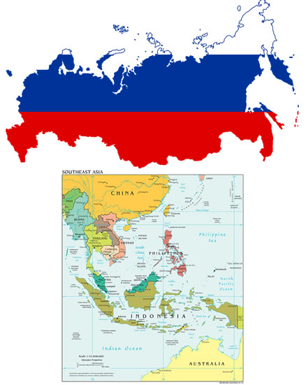 Flag-map of Russia (top) and Political Southeast Asia map