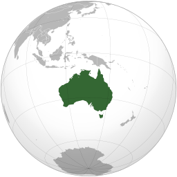 Australia orthographic projection map