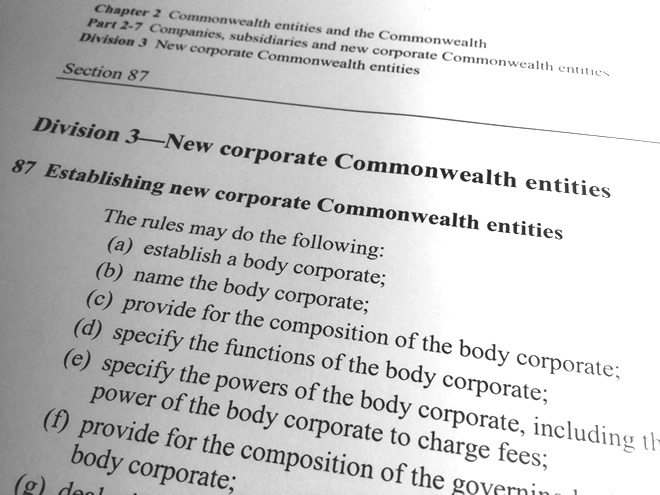 Public Governance, Performance and Accountability Act 2013, section 87, corporate Commonwealth entities