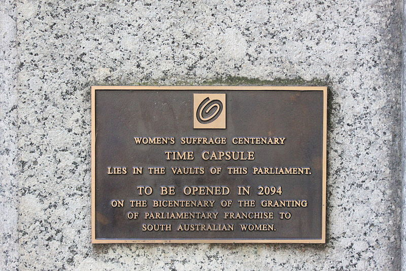 Women's suffrage time capsule at Parliament House, Adelaide. 19 February 2012