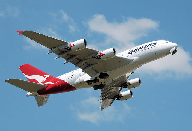 Qantas Airbus A380 (VH-OQA) takes off from London Heathrow Airport, England. The main and nose undercarriage doors have not yet closed.