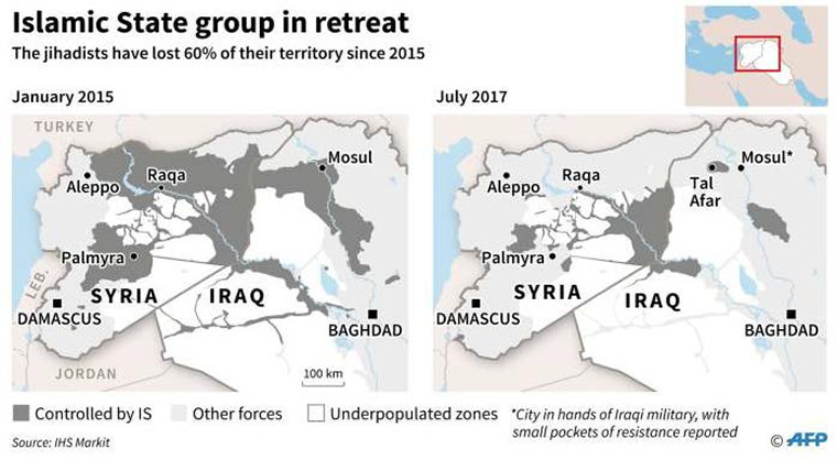 Figure 1: ISIS areas of influence—a comparison from January 2015 to September 2017