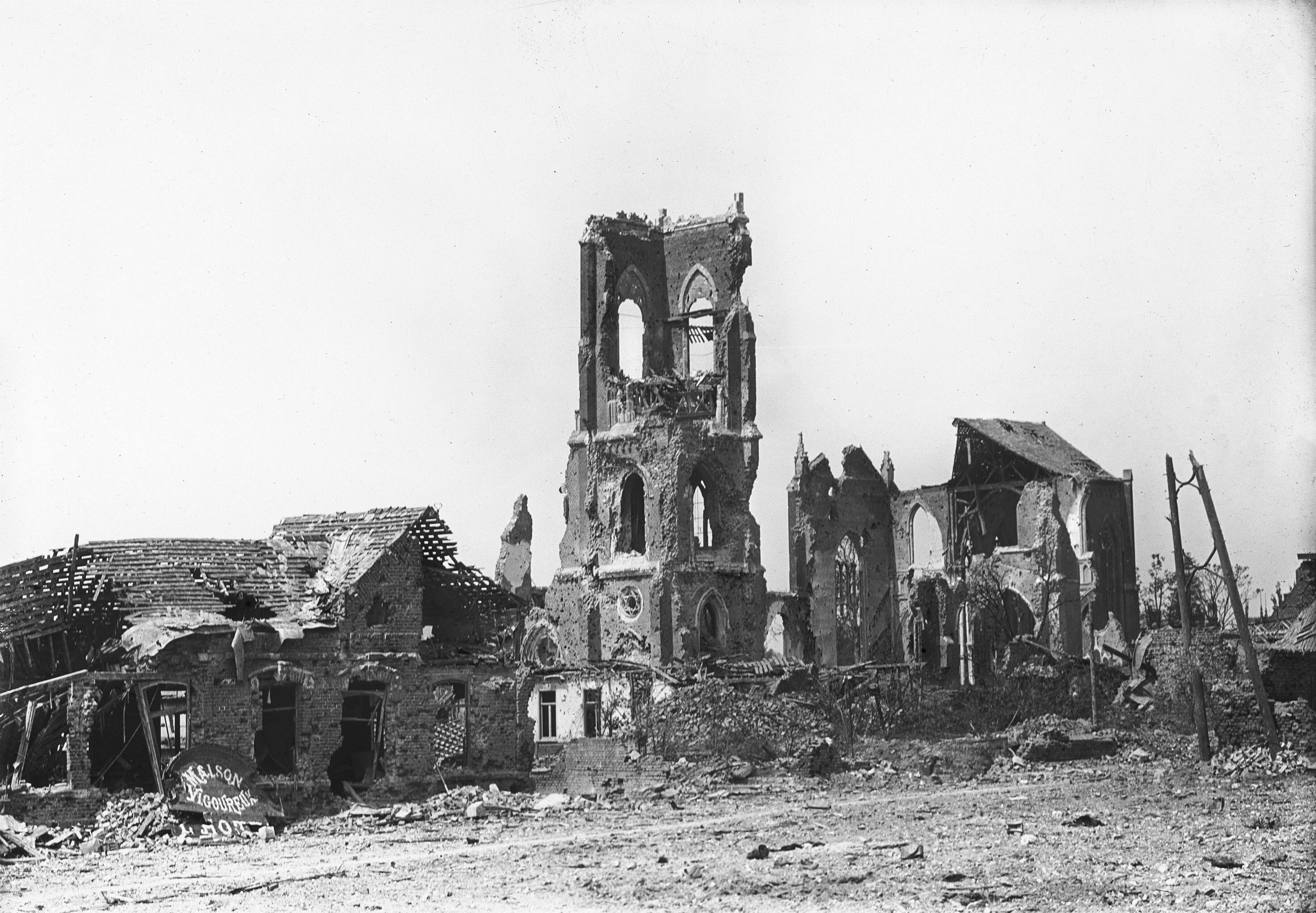The ruined Church in Villers-Bretonneux after the second Battle; image courtesy of the Australian War Memorial