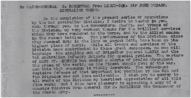 Special congratulatory wire sent from General John Monash to the 2nd Australian Division in early September 1918, noting that 'the capture of Mont St Quentin has evoked a chorus of praise throughout the press of the world'.  Image courtesy of the Australian War Memorial [page 29].