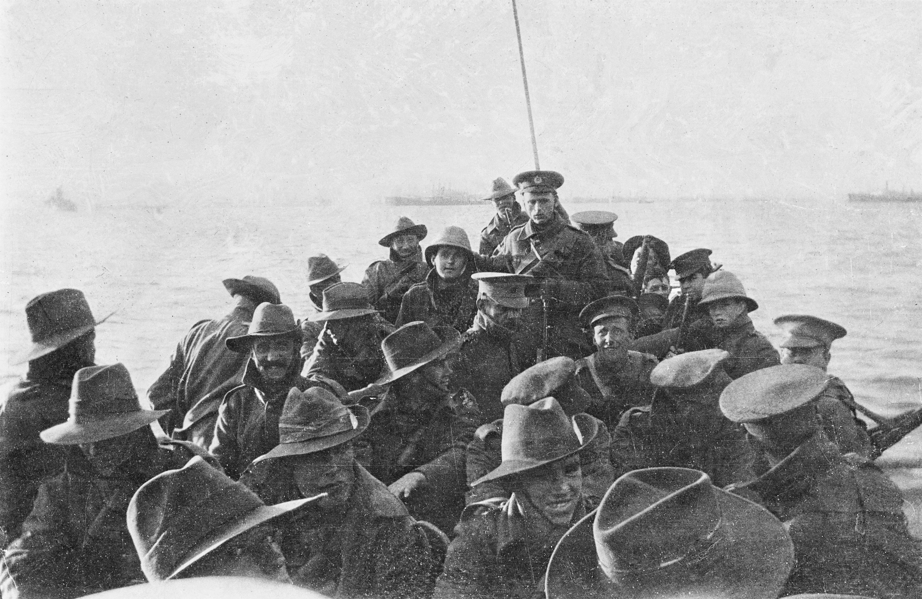 Figure 2: Unidentified men from the 1st Divisional Signal Company being towed towards Anzac Cove on the morning of 25 April 1915. Image courtesy of the Australian War Memorial.