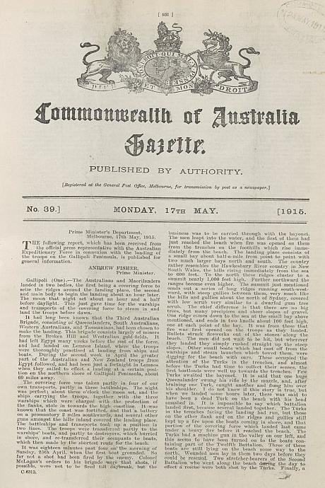 Figure 6: On 17 May 1915, CEW Bean's first report from Gallipoli was published in the Commonwealth of Australia Gazette.