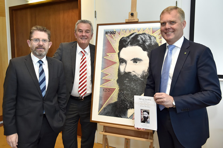 Senator the Hon Scott Ryan (left) and the Hon Tony Smith MP (right) with David Headon at the Alfred Deakin book launch.