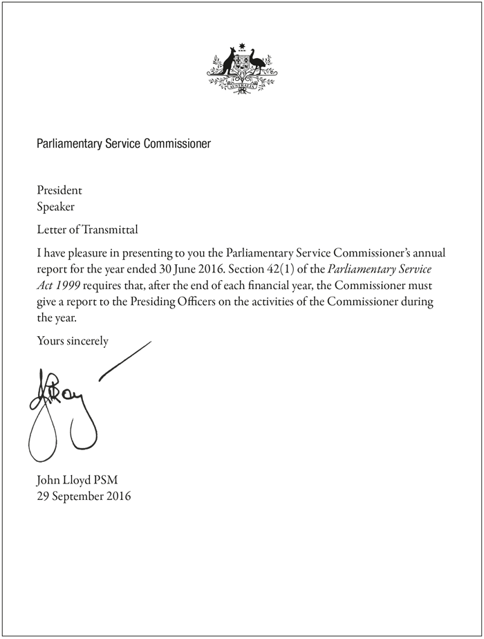 Parliamentary Service Commissioner's Annual Report 2015-16 Letter of Transmittal