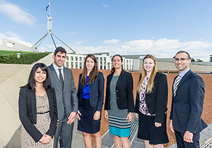 Graduates on the Parliament House forecourt