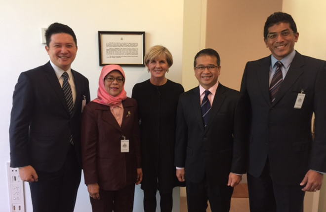 Delegation members from the Parliament of the Republic of Singapore with Foreign Minister Julie Bishop