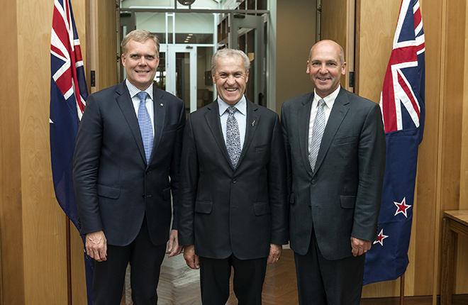The Right Honourable David Carter MP with Speaker the Hon Tony Smith MP and President of the Senate the Hon Stephen Parry