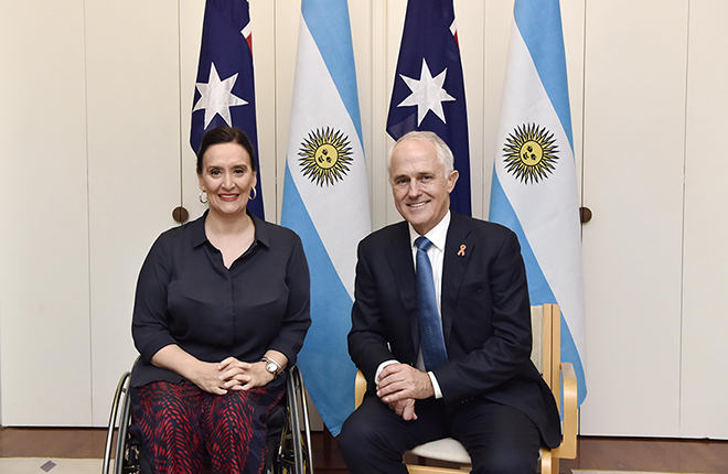 Argentinian Vice President Ms Gabriela Michetti with Prime Minister Malcolm Turnbull