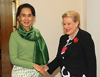 Aung San Suu Kyi with Hon Bronwyn Bishop MP, Speaker of the House of Representatives