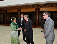 Aung San Suu Kyi meets Senator the Hon John Hogg, President of the Senate and Richard Pye, Acting Clerk of the Senate