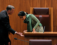 Senator the Hon John Hogg with Aung San Suu Kyi in the Senate Chamber