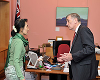 Aung San Suu Kyi in the Senate President's suite in Parliament House