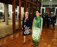 Hon Bronwyn Bishop MP and Aung San Suu Kyi near the Speaker's courtyard in Parliament House
