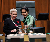 Aung San Suu Kyi and Hon Bronwyn Bishop MP in the House of Representative Chamber
