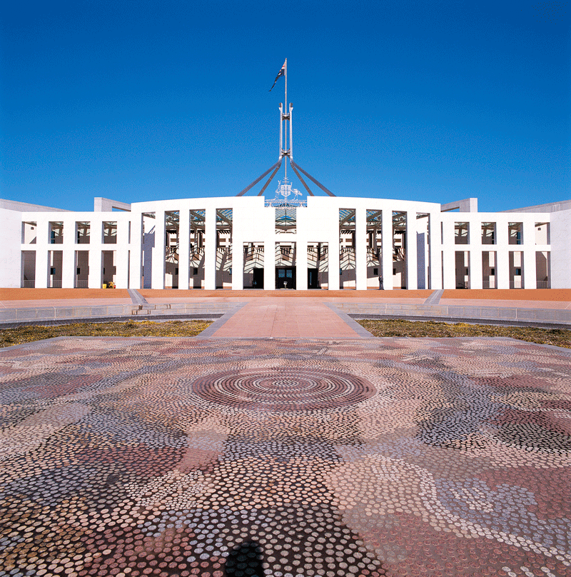 Forecourt mosaic, Parliament House, Canberra (Possum and Wallaby Dreaming)