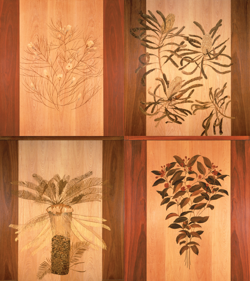 Tony Bishop (artist, born 1940) and Michael Retter (fabricator, born 1935), Marquetry Panels
