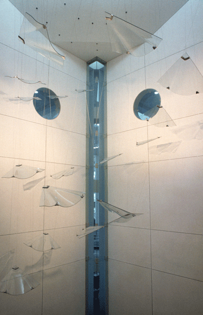 Maureen Cahill (born 1947) Suspended sculptural installation [Willy Willy] comprising 18 panels, (1986–1988).
