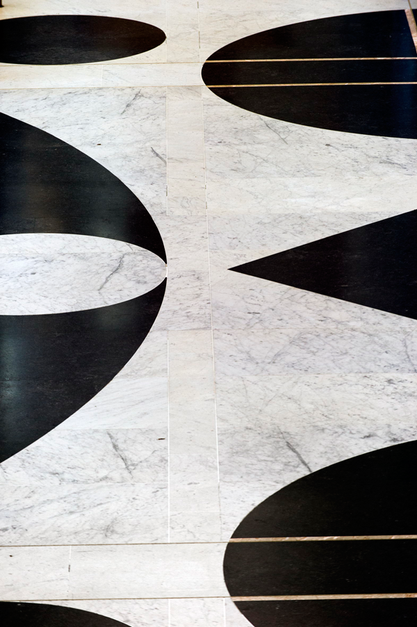 The black and white floor of the Marble Foyer