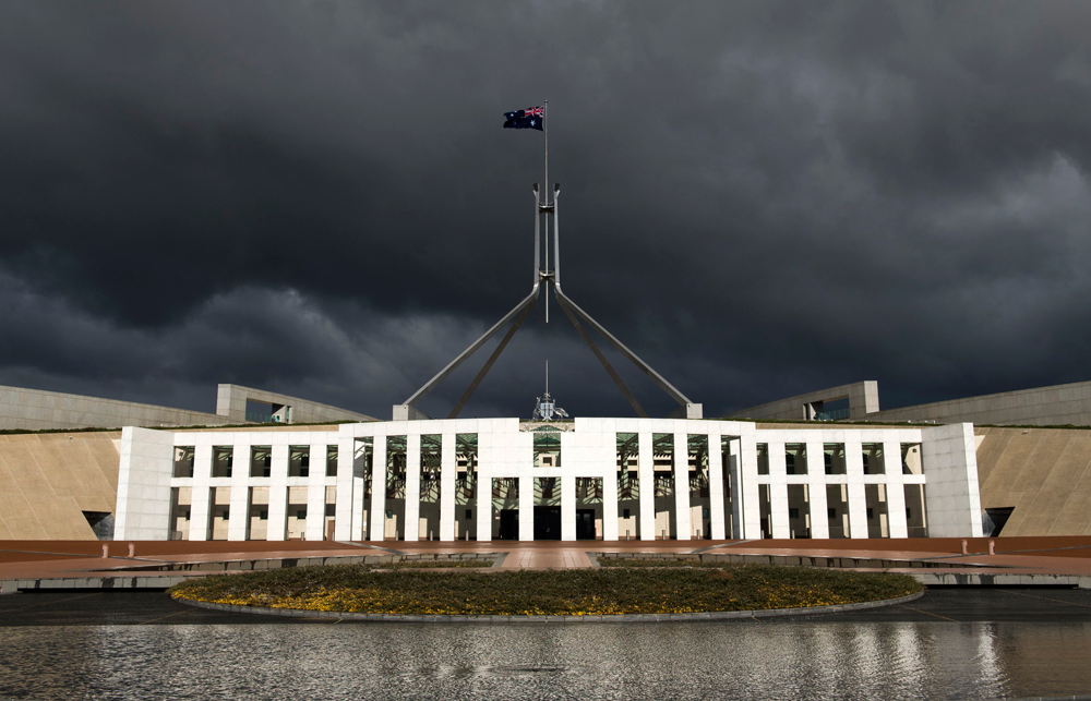 Parliament House under a stormy sky